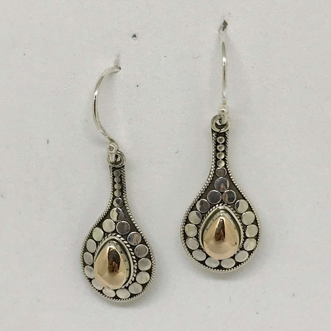 BALI SILVER EARRINGS WITH 18KT GOLD ACCENT