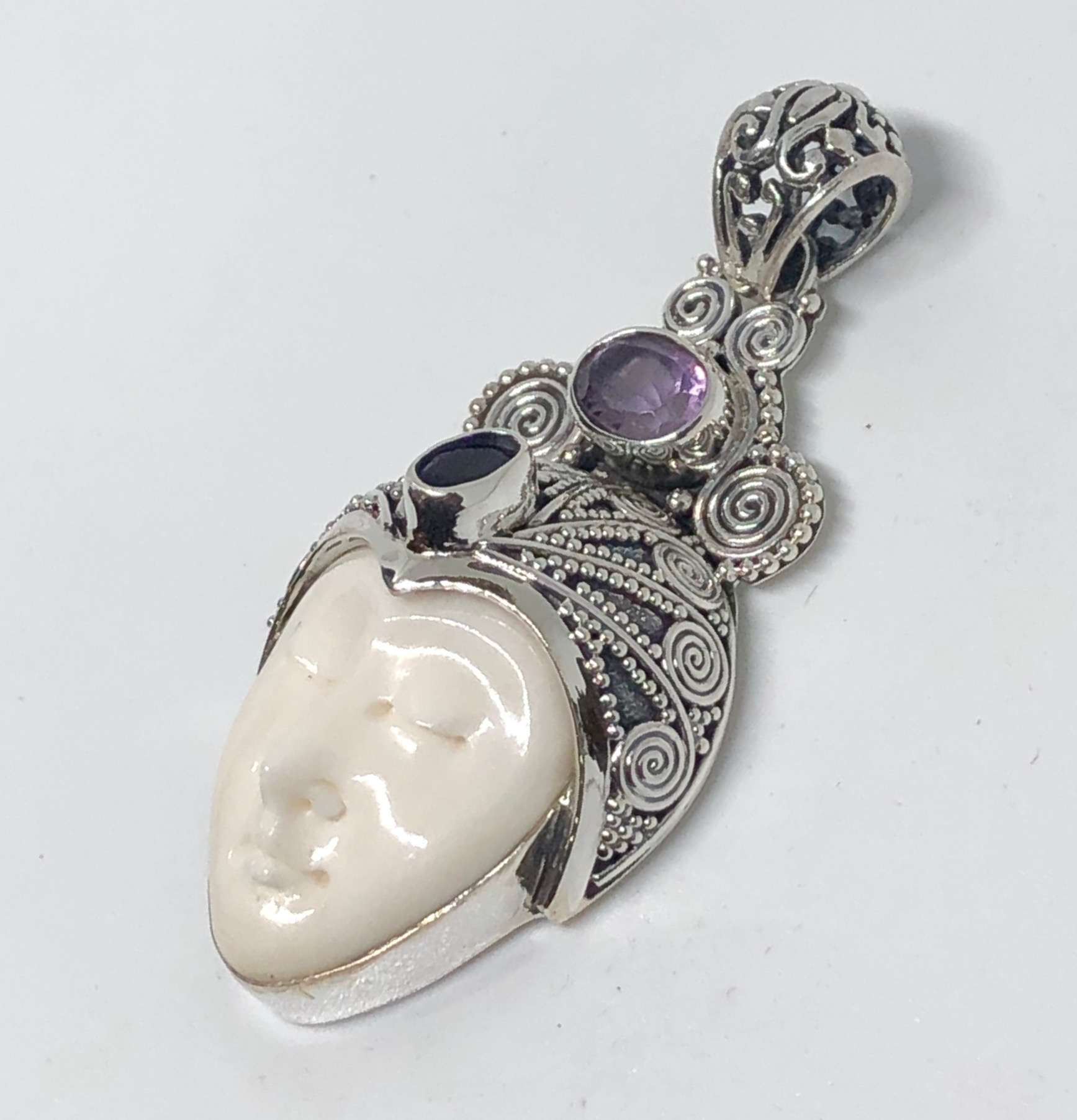 BALI SILVER BONE FACE PENDANT WITH GEMSTONES